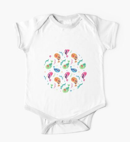 The Happy Fish Pattern One Piece - Short Sleeve