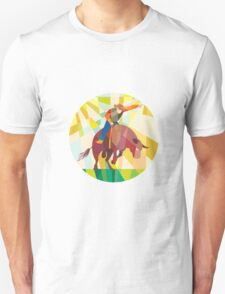 Rodeo Cowboy Bull Riding Pointing Low Polygon Unisex T-Shirt