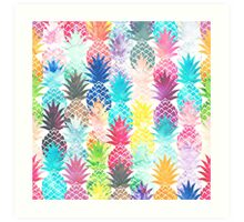 Hawaiian Pineapple Pattern Tropical Watercolor Art Print