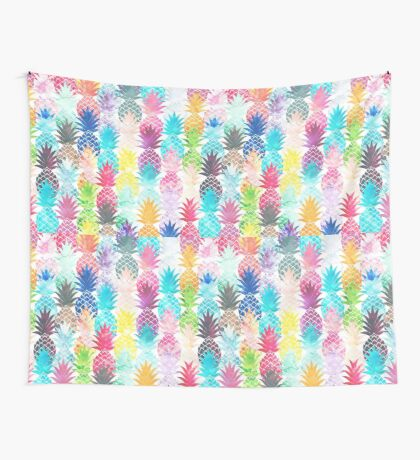 Hawaiian Pineapple Pattern Tropical Watercolor Wall Tapestry