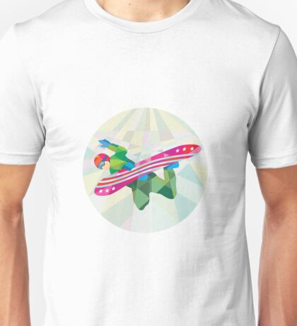 Snowboarder Snowboard Jumping Low Polygon Unisex T-Shirt