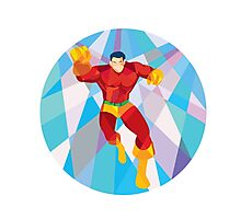 Superhero Running Punching Low Polygon Photographic Print