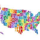 United States Typography Text Map by Michael Tompsett