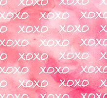 Cute xoxo pattern girly trendy pink watercolor  by GirlyTrend