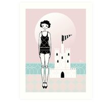 1920s Flapper Gatsby Girl Beach Sand Castle  Art Print