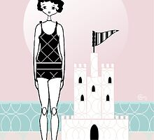 Gatsby Flapper Girl Pink Sand Castle Beach by CecelyBloom