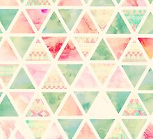 Abstract Triangles Pattern Pink Turquoise Tie dye  by GirlyTrend