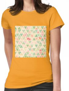 Abstract Triangles Pattern Pink Turquoise Tie dye  Womens Fitted T-Shirt