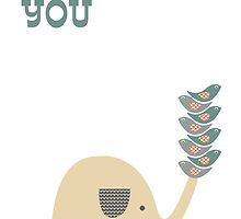 Thank-you card thanks elephant card by catherineinsch