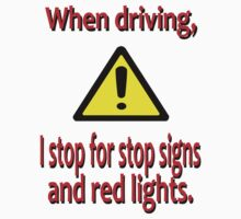 When Driving I Stop for Red Lights by PharrisArt