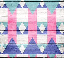 Pink Turquoise Geometric Pattern Gray Wood  by GirlyTrend