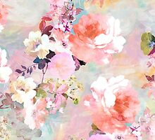 Romantic Pink Teal Watercolor Chic Floral Pattern by GirlyTrend