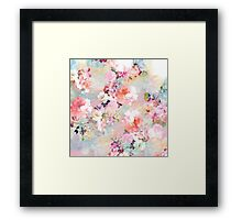 Romantic Pink Teal Watercolor Chic Floral Pattern Framed Print