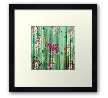 Flower Elephant Pink Sakura Green Striped Wood Framed Print