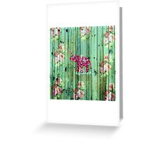 Flower Elephant Pink Sakura Green Striped Wood Greeting Card