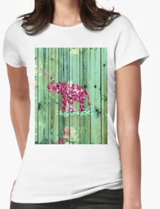 Flower Elephant Pink Sakura Green Striped Wood T-Shirt