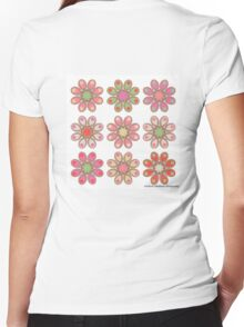 Raspberry Foot Flowers Women's Fitted V-Neck T-Shirt