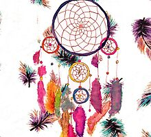 Hipster Watercolor Dreamcatcher Feathers Pattern by GirlyTrend