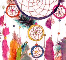 Hipster Watercolor Dreamcatcher Feathers Pattern Sticker