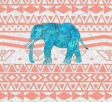 Whimsical Teal Paisley Elephant Pink Aztec Pattern by GirlyTrend