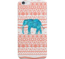 Whimsical Teal Paisley Elephant Pink Aztec Pattern iPhone Case/Skin