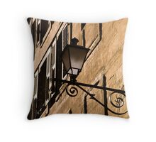 Sunlit wall in the old town Throw Pillow