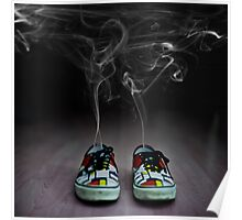 Cartoon explosion in sneakers Poster