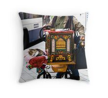 Swiss organ grinder & friend Throw Pillow