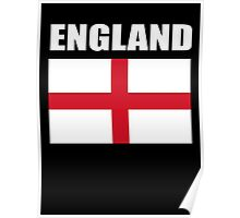 England, English Flag, Flag of St George, Pure & simple, on Black Poster