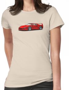 Ferrari F40 1987 Rosso Corsa Womens Fitted T-Shirt
