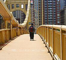 Man on an yellow bridge by coralZ