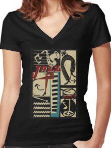 the jazz rythm Women's Fitted V-Neck T-Shirt