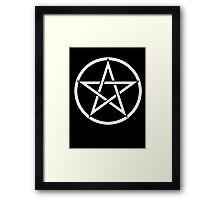Pentacle, Witch, Modern Pagan, WICCA, Witchcraft, religion, White on Black Framed Print