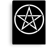 Pentacle, Witch, Modern Pagan, WICCA, Witchcraft, religion, White on Black Canvas Print