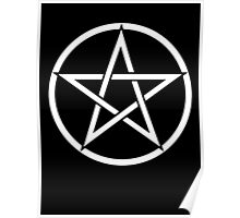 Pentacle, Witch, Modern Pagan, WICCA, Witchcraft, religion, White on Black Poster