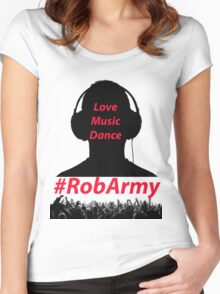 RobARMY Love, Music, Dance Women's Fitted Scoop T-Shirt