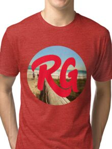 RG LOGO With Red Lettering and Beach Background  Tri-blend T-Shirt