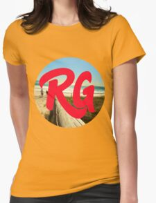 RG LOGO With Red Lettering and Beach Background  Womens Fitted T-Shirt