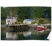 Reflections of a Lobster Boat, Dock and Traps Poster