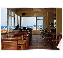 Early morning at a restaurant on Tel Aviv Beach Poster