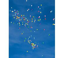 Blue sky with coloured balloons Photographic Print