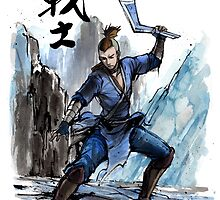 Sokka from Avatar Sumi and watercolor with Calligraphy by Mycks