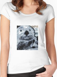 Grey Blue Painted Sea Otter Women's Fitted Scoop T-Shirt