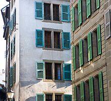 Green and blue shutters by Alexander Meysztowicz-Howen