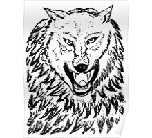 Abstract Wolf Sketch 2 Poster