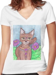 Adroable big eyes Cat art Women's Fitted V-Neck T-Shirt