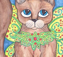 Adroable big eyes Fairy Cat art by JenStedmansArt