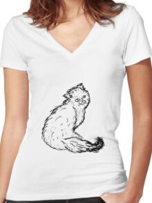 Persian Cat Sketch Women's Fitted V-Neck T-Shirt