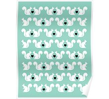 Squirrels pattern print designs minimal mint dots pastel pattern cell phone gift ideas nature Poster