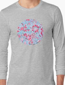 Sweet Spring Floral - cherry red & bright aqua Long Sleeve T-Shirt